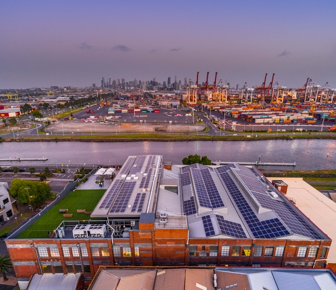 A view of The Dream Factory rooftop against the Melbourne skyline