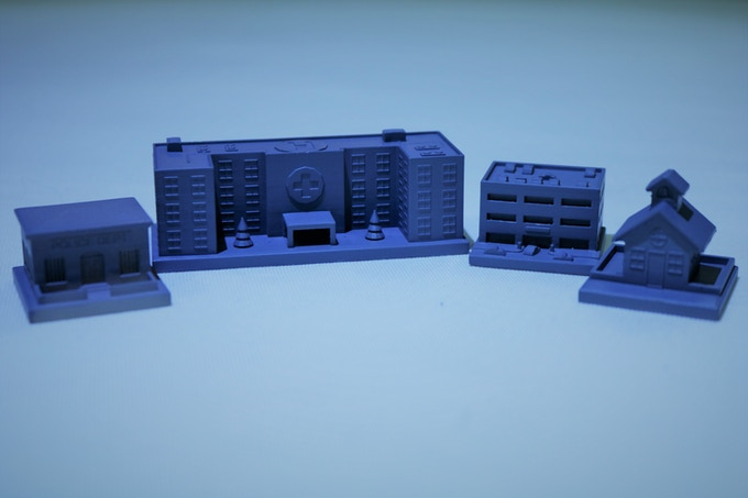 The 4 New Buildings - Police Station, Hospital, Parking Garage, School