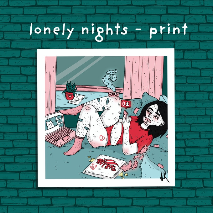 LONELY NIGHTS PRINT - 21x21cm - printed on high quality fine art matte paper. Signed and made with love.