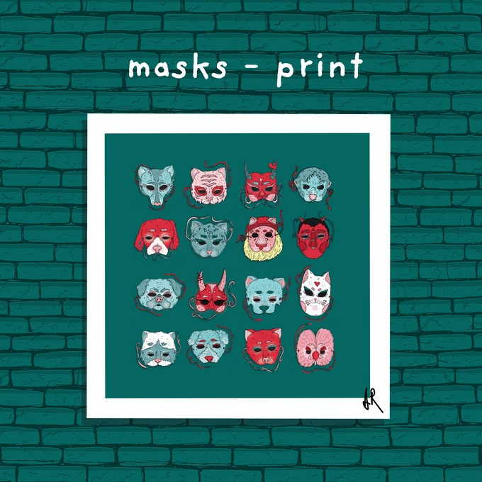MASKS PRINT - 21x21cm - printed on high quality fine art matte paper. Signed and made with love.
