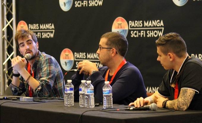 Hugues Puyau, Jacques Hersant et Timmy Maquaire lors du panel DC SHORTS au Paris Manga 2018 (crédit Xavier Fournier)