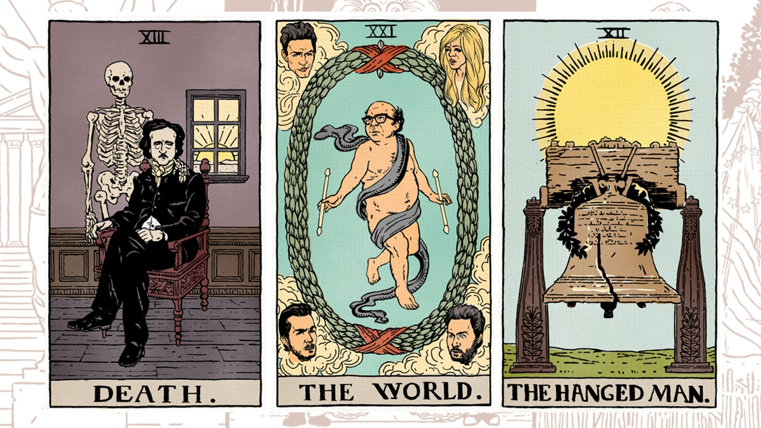 A Philadelphia-themed Tarot card deck with 78 full color illustrations!