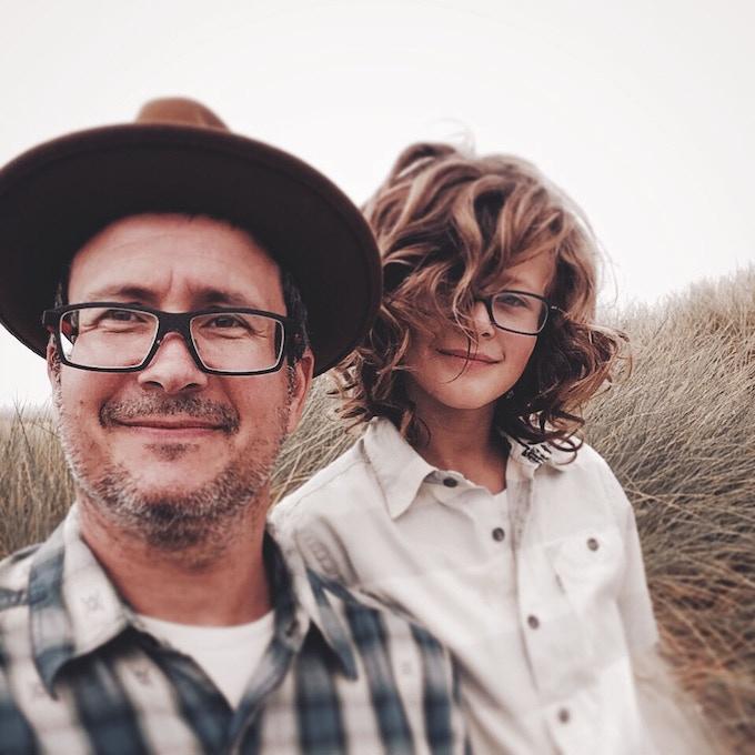 (Publisher Brett Warnock and his son Carter)
