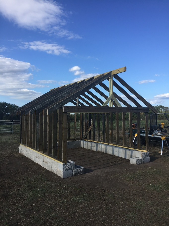 Building a new sheep barn out of used lumber from and old deck!