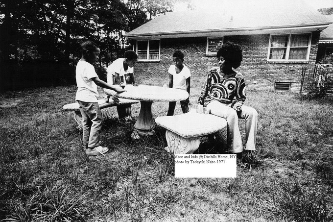 Alice Coltrane and kids in front of their home in 1971. Photo by Akiyoshi Miyashita