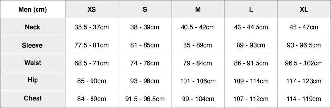 Men's style SS + LS (cm)