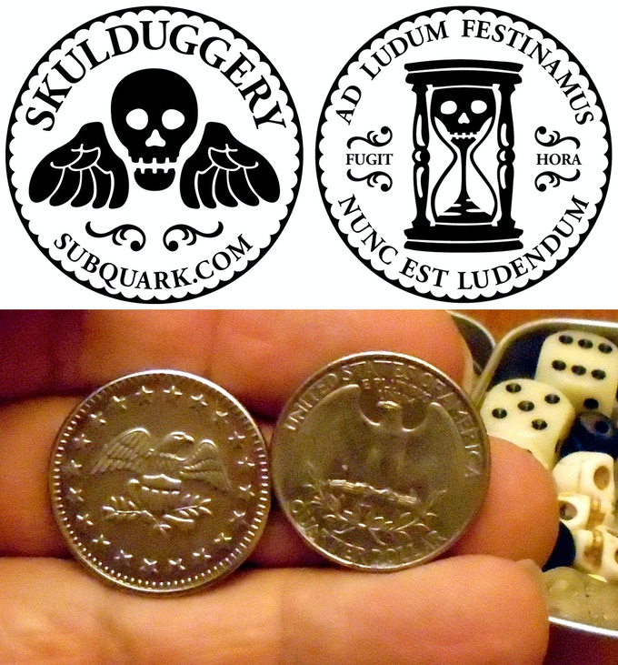 Art files for the mint's custom dies & our sample which is slightly larger than a US quarter