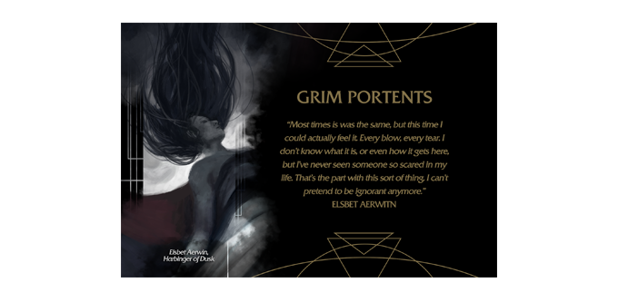 "Sample Lore Card (for ""Grim Portents""). Matching Lore Card included for every print and mat."