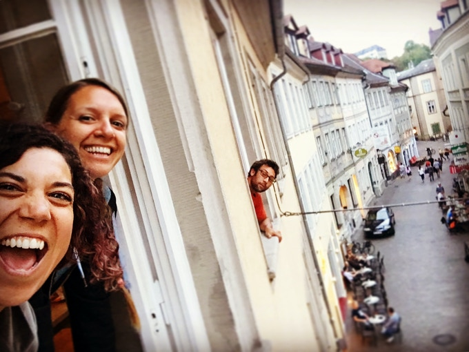 Hanging out a window from the greenroom above the LiveMusik Club in Bamberg, Germany