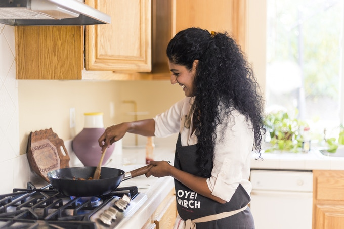 Oye! Mirch creator is never without a smile doing what she loves in her kitchen