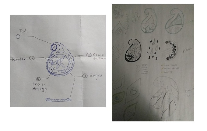 Left: Initial functional drawing sketched on the back of some other paper; Right: Concepts that led to the three styles.