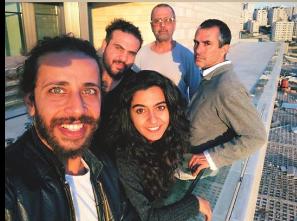 Motaz Malhees, Fida Zidan, Alaa Shehada, Khalifa Natour & Amir Nizar Zuabi rehearsing in Ramallah