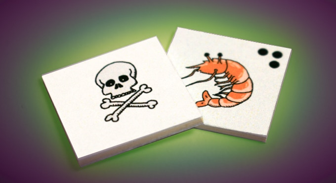 There are 4 prawns in the game, but only 1 is poisoned!
