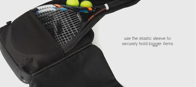 20c300270ce5 そしてまた、ラッピングポケットの内側と言いますか中には、実際に「Banale Backpack」の横幅もある幅広なポケットが1つ備えられており、テニスラケットやボール等は  ...