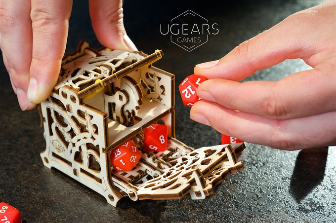 The Dice Keeper keeps your dices safe and secure, sitting comfortably in individual slots (a prototype photo)