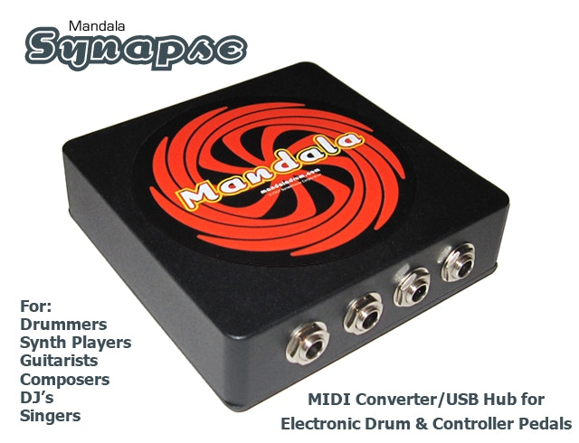 Synapse: eDrum & Controller Pedals to USB MIDI Converter+Hub by