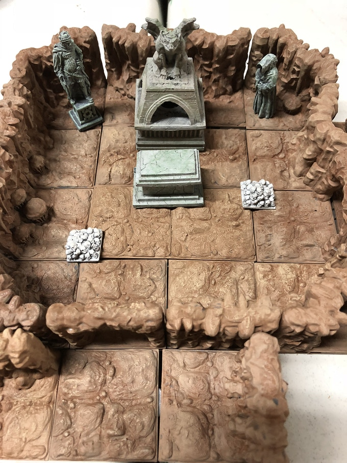 Fallen King w/Evil Brazier.    **These are just some of the examples of the Painted Dungeon Tiles Available.  Accent pieces not included.  Click on Picture to see more options.