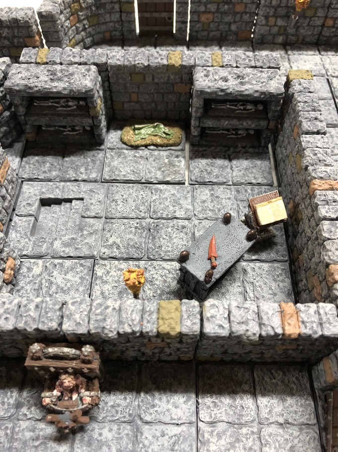 Crypt Room  **These are just some of the examples of the Painted Dungeon Tiles Available.                  Accent pieces not included.  Click on Picture to see more options.