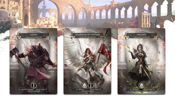 "Some of the ""Narkalor's Chosen One"" version of the champions. These treasures are particularly rare cards. They can be found in Booster packs and will have an excellent trade value."