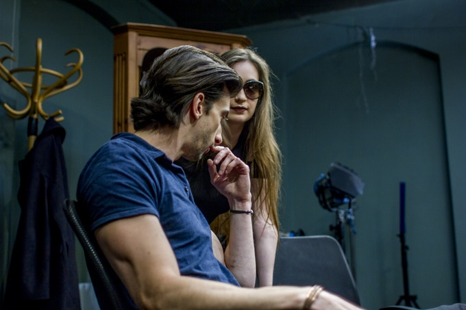 Jason Griffin and Emma Blacklay-Piech on set
