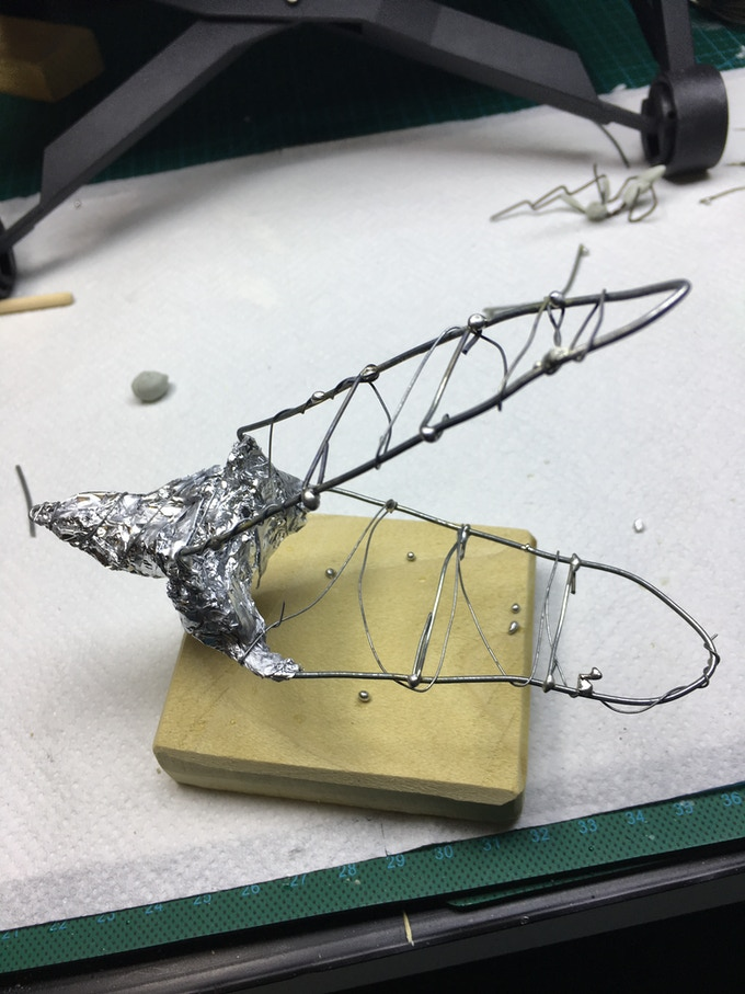 The metal armature for The Rockgnaw