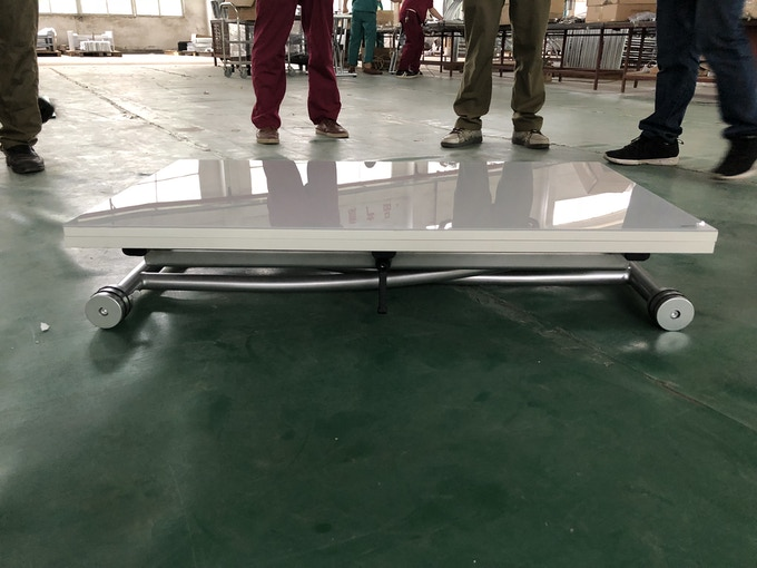 The first complete prototype of the X Table 2.0, on the factory floor. This version has a glossy lacquer top.