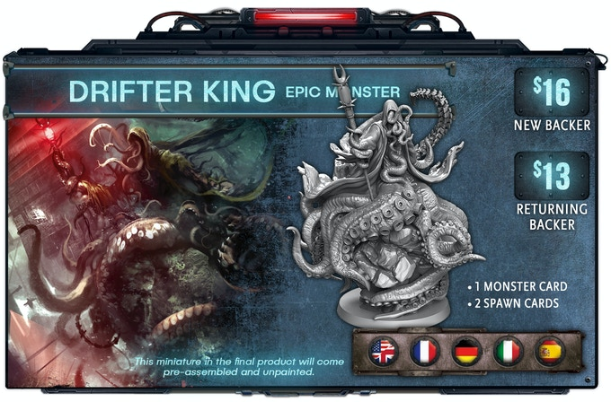 The Drifter King is about 70mm to the top of his head.