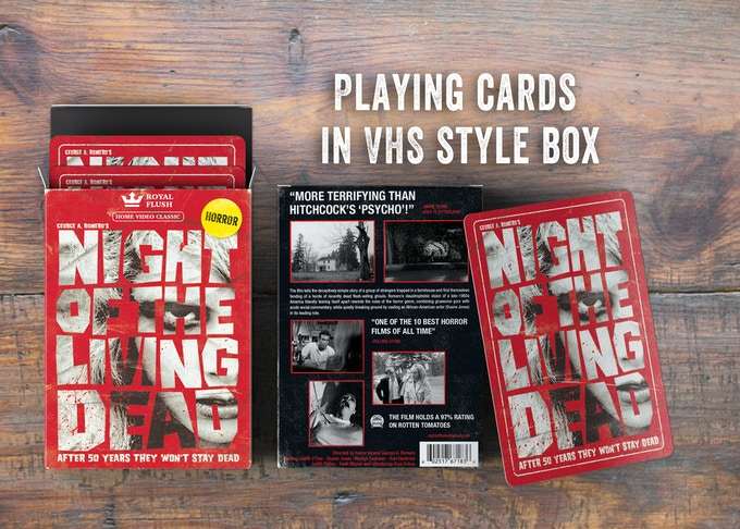 "Night of the Living Dead playing cards in a ""VHS Style"" box"