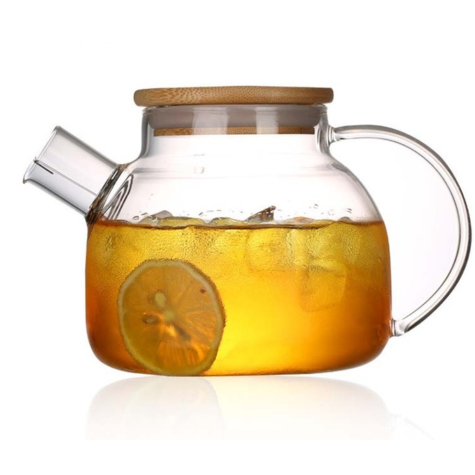Glass teapot and kettle with lid