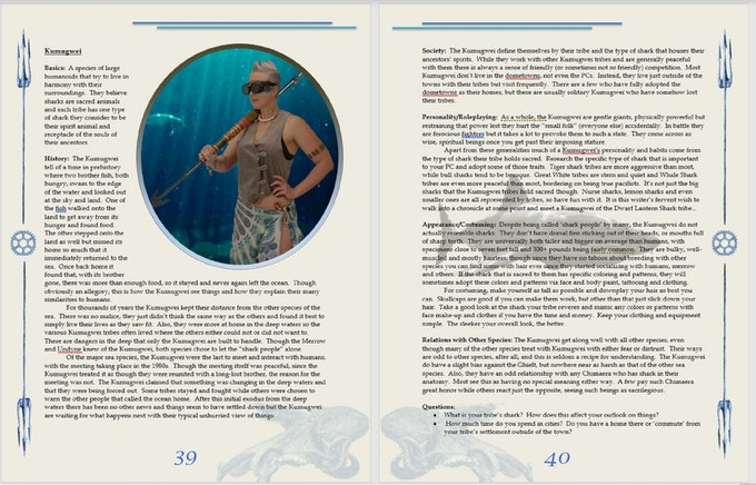 Here is a prototype of one of the Species chapters in the book, the Kumugwei.