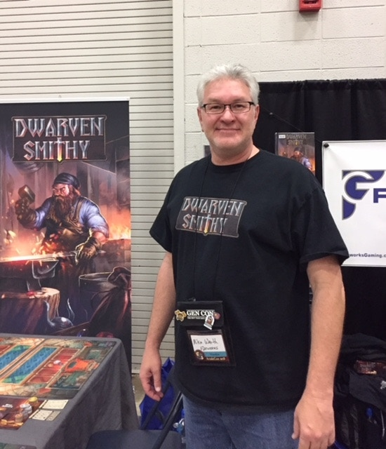 Mike from Flatworks Gaming grabbed one of our vendor tables and ran demos and sold copies of Dwarven Smithy all weekend long.