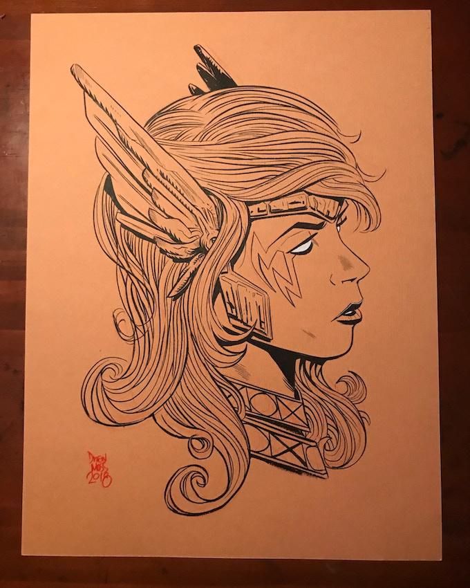 9x12 Black and White Head Sketch
