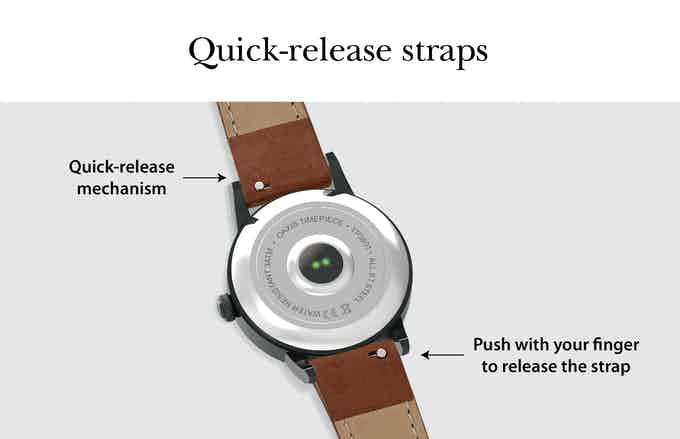 The straps feature a mechanism that allows you to quickly switch between straps for any occasions.