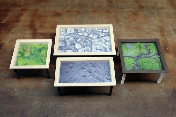 """Four different table sizes / Vier verschiedene Tischgrößen the 5th table size """"Thurse"""" (6x3) is under construction"""