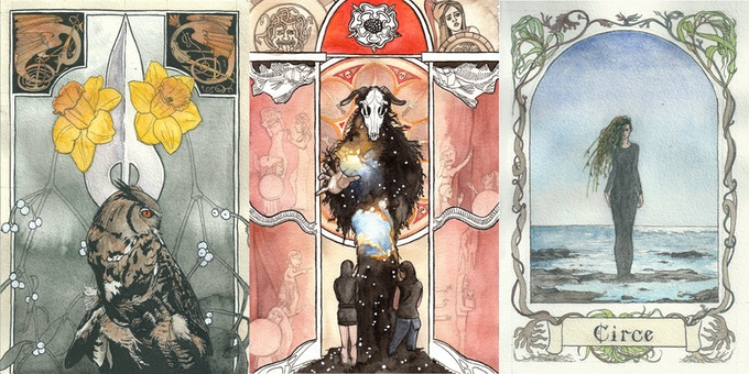 A5 print rewards - The Owl, The Devil, The Sea Witch