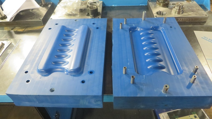 Tooling made to create the stainless steel prototypes shown to check that the shape would form correctly.