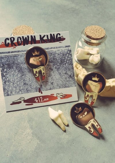 Crown King Enamel Pin, human teeth not included
