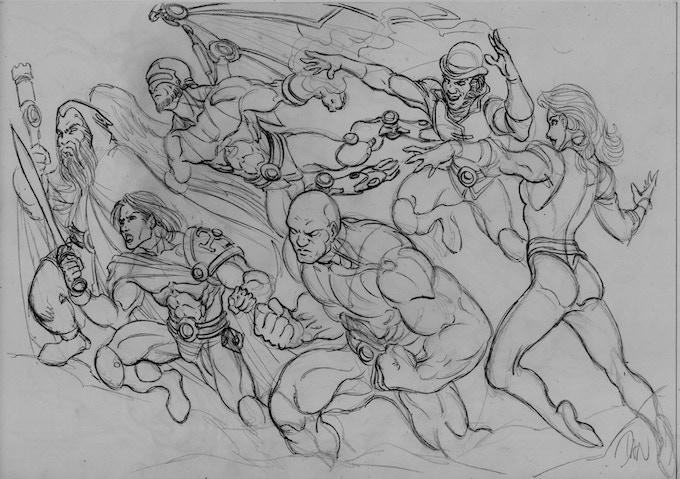 Dan's sketch of his team shot of the Cast