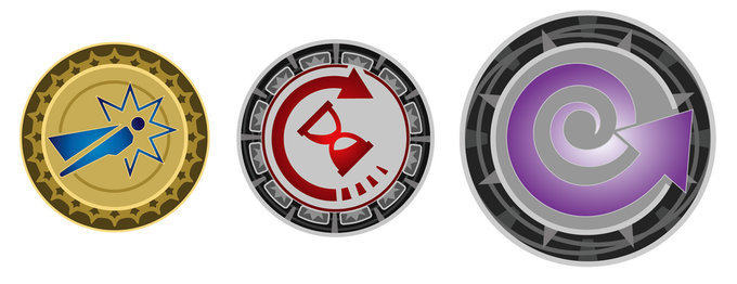 Left to right: Hero points, time tokens, continuity tokens.
