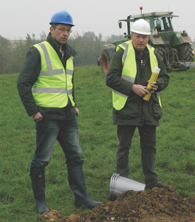 Mark Postlethwaite and Simon Parry in a cold, wet French field in October 2007 whilst filming the TV documentary 'Last of the Dambusters'. Below their feet lay the remains of Dambuster Lancaster ED825, the aircraft flown by Joe McCarthy on the Dams Raid.