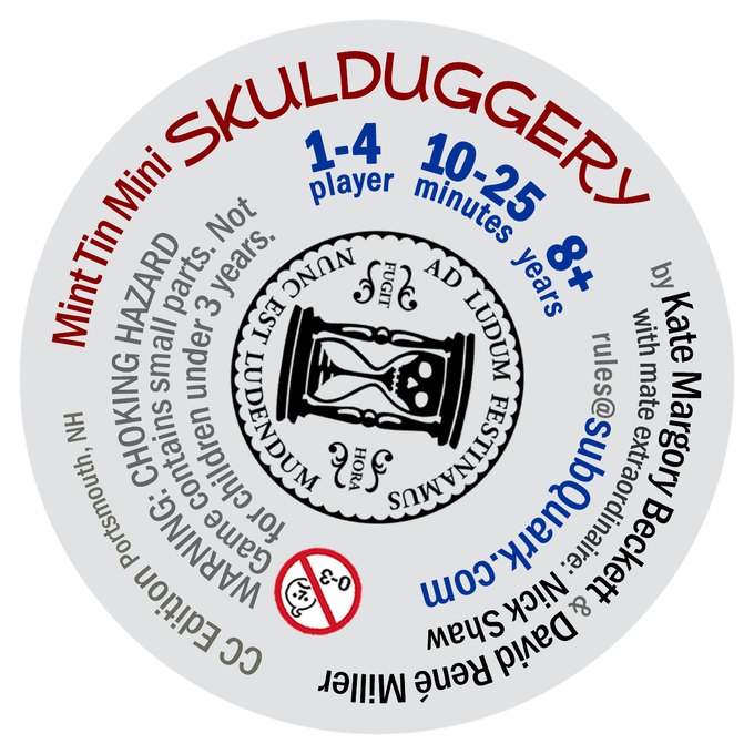 Asymmetrical label - easier to apply & full of Skulduggery!