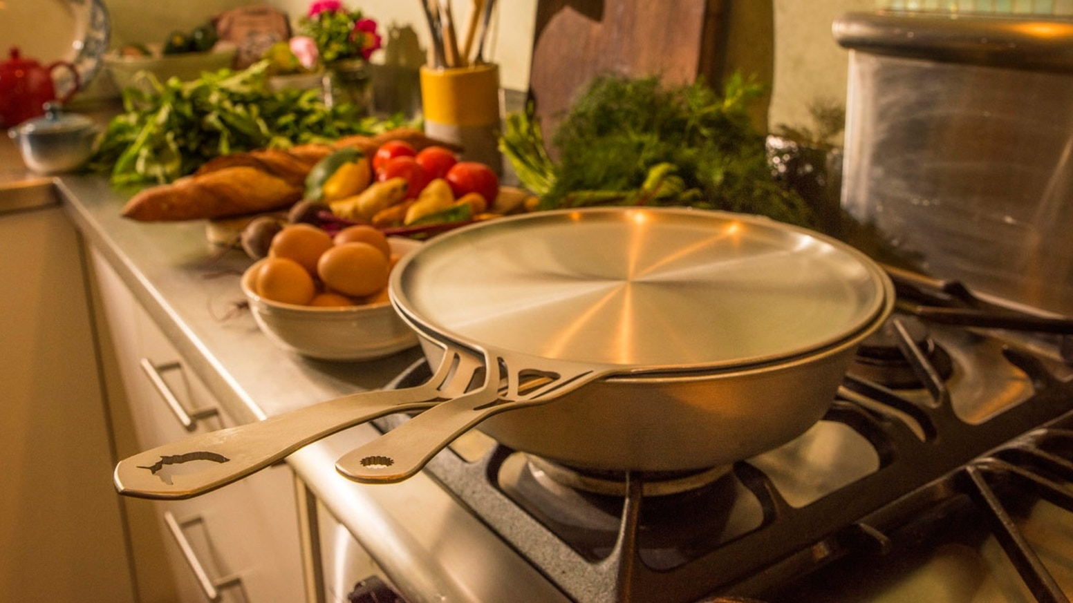 """World-first 1-pc seamless wrought stainless cookware. Rivetless SOLID 1/8"""" non-Ni ferritic = +CONDUCTIVE. Multi-century indestructible."""