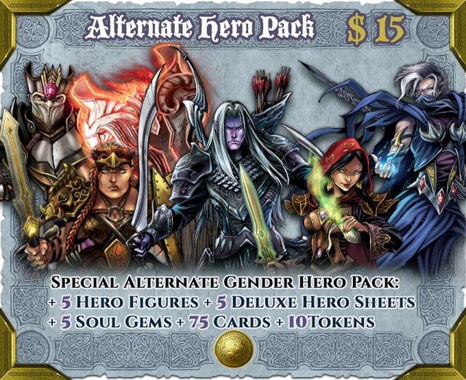 5 fully playable Hero Packs offering an alternate version of the Heroes included in the Core Set.