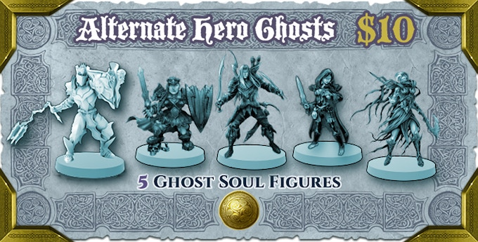 Ghost soul form miniatures of the Heroes included in the Alternate Hero Pack add-on