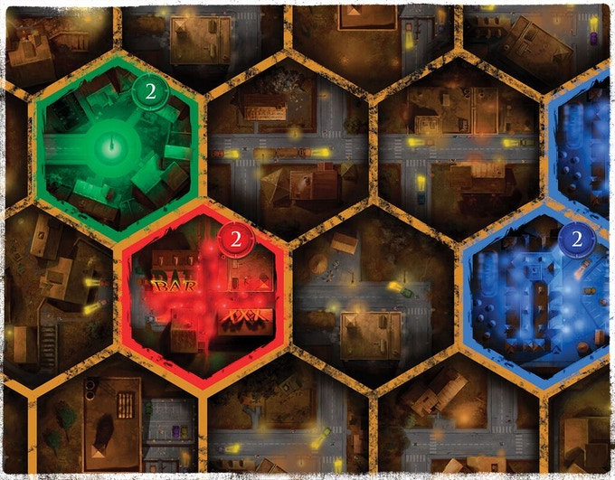 close-up of the hex tiles
