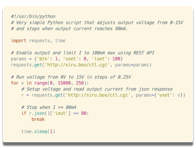 Python script example to remote control siru.box®.