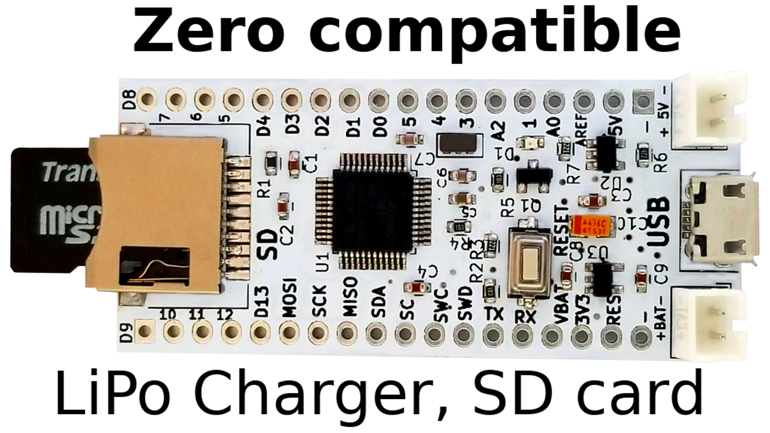 Zero BZ1, (Arduino-Compatible) with SD and LiPo charger  by Dimitri