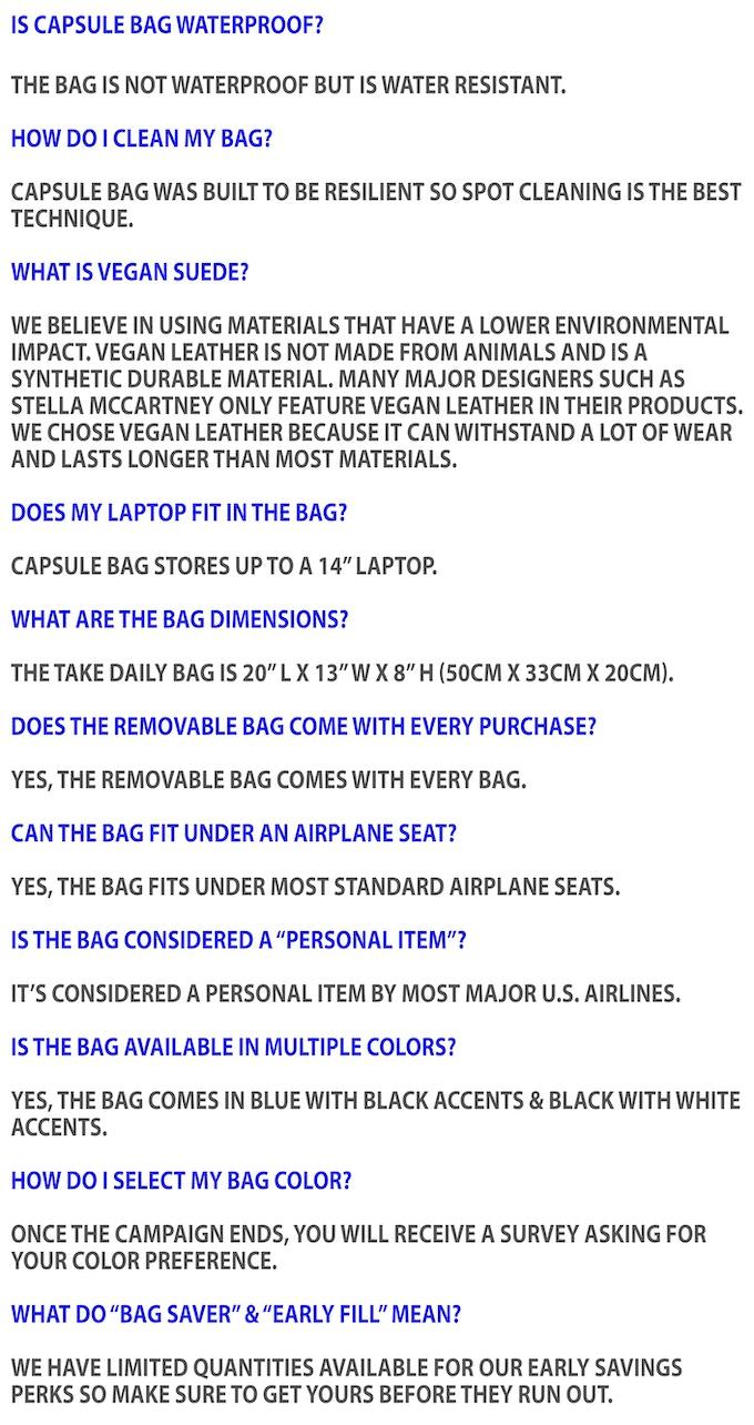 fdd209789a The Take Daily Bag by Capsule Bag — Kickstarter