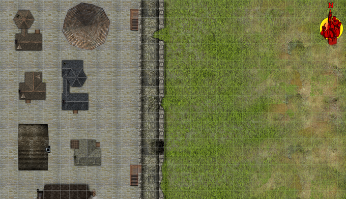 City Wall Siege, daytime, damaged,  grid.