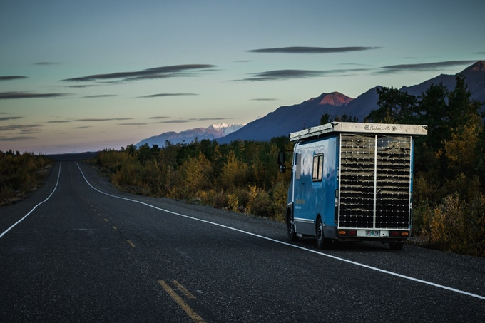 The van on the side of the Alaskan Highway in the Yukon Territory, Canada